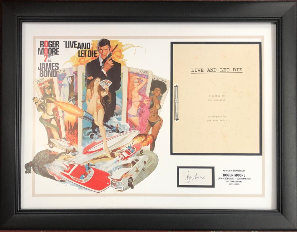 Roger Moore Framed Live & Let Die Script Display