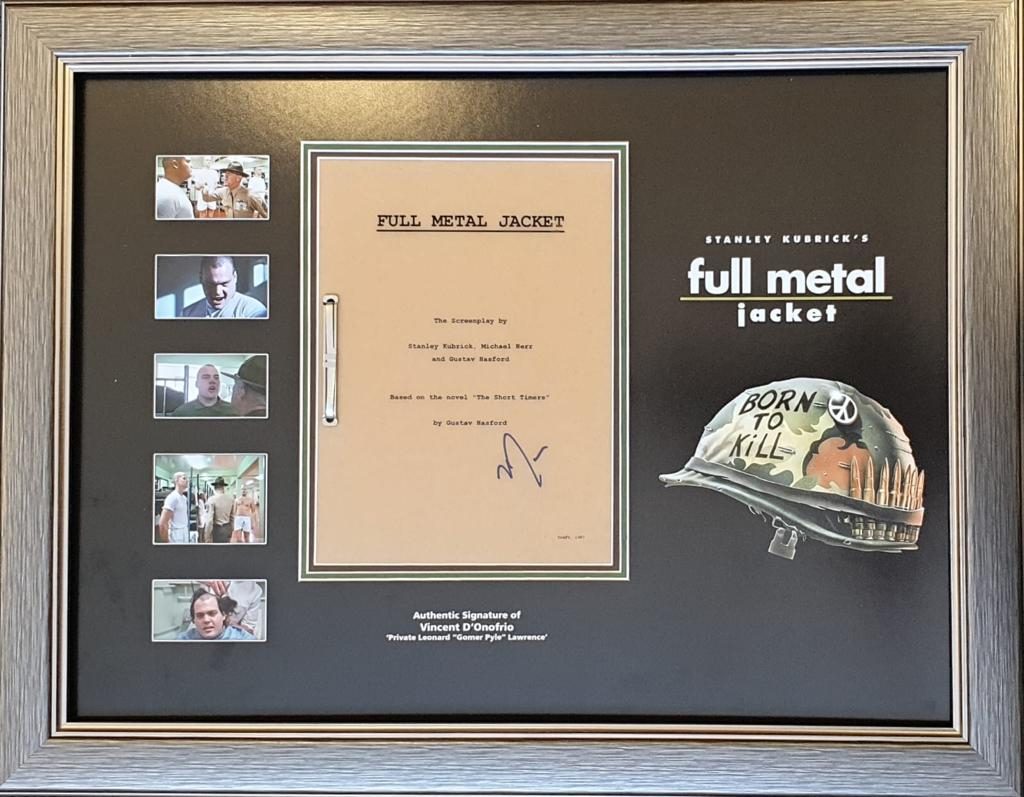 Vincent D'Onofrio Full Metal Jacket Signed Script Display