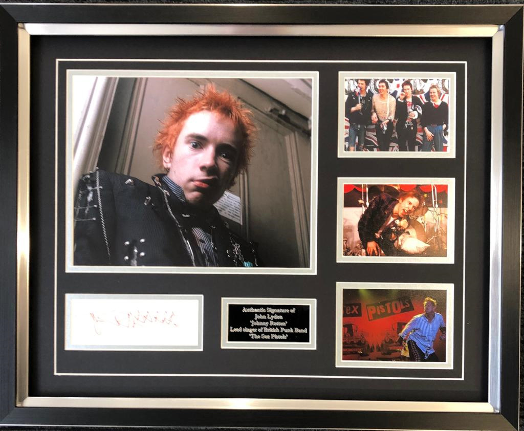 John Lydon Signed Johnny Rotten Sex Pistols Framed Display